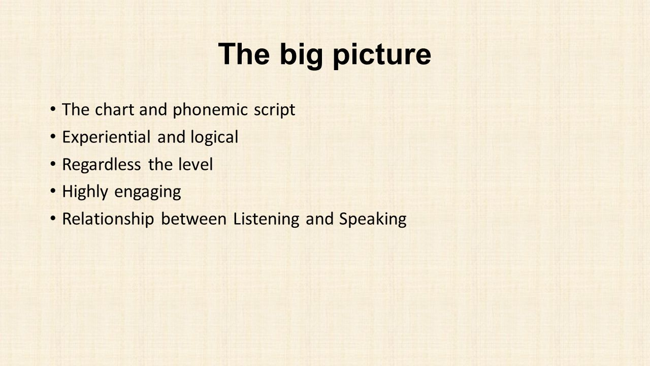 The big picture The chart and phonemic script Experiential and logical Regardless the level Highly engaging Relationship between Listening and Speakin