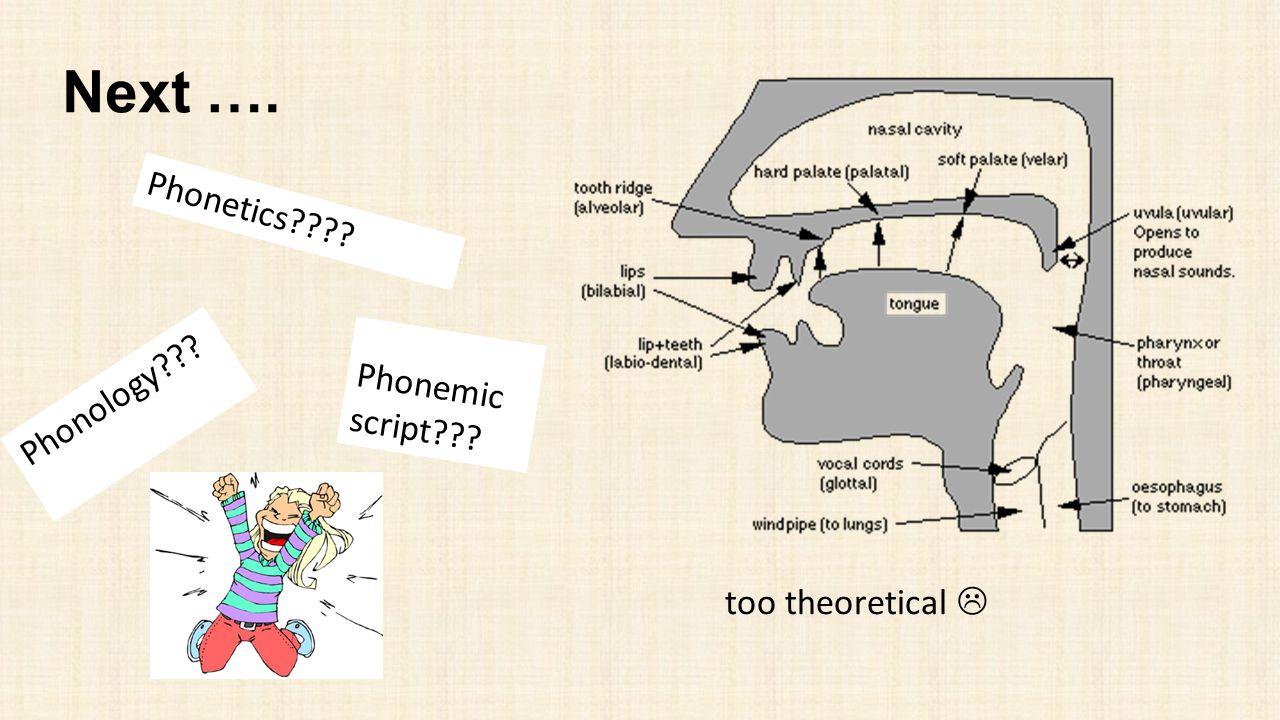 Next …. Phonetics???? Phonology??? too theoretical  Phonemic script???