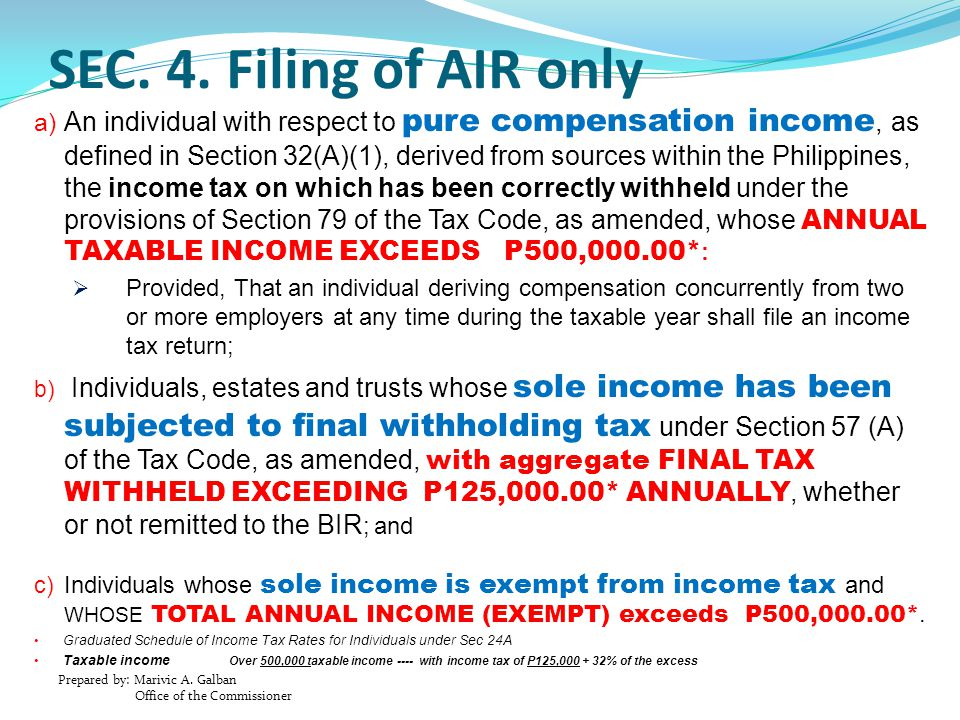 Prepared by: Marivic A. Galban Office of the Commissioner SEC. 4. Filing of AIR only a) An individual with respect to pure compensation income, as def