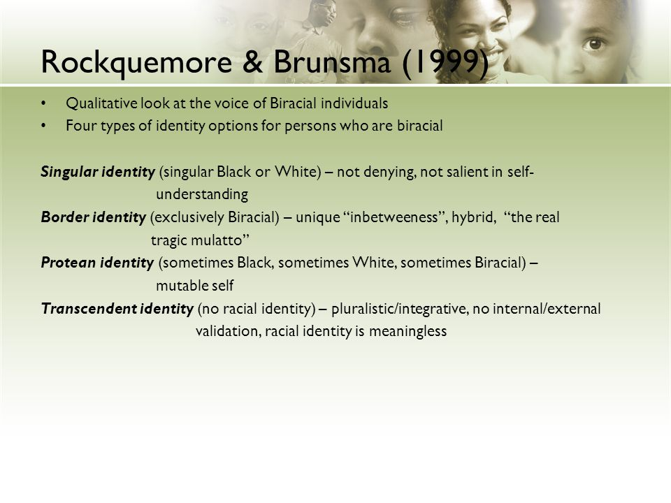 Rockquemore & Brunsma (1999) Qualitative look at the voice of Biracial individuals Four types of identity options for persons who are biracial Singula
