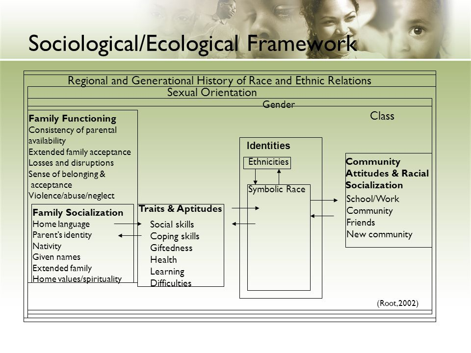 Sociological/Ecological Framework Regional and Generational History of Race and Ethnic Relations Sexual Orientation Gender Class Family Functioning Co