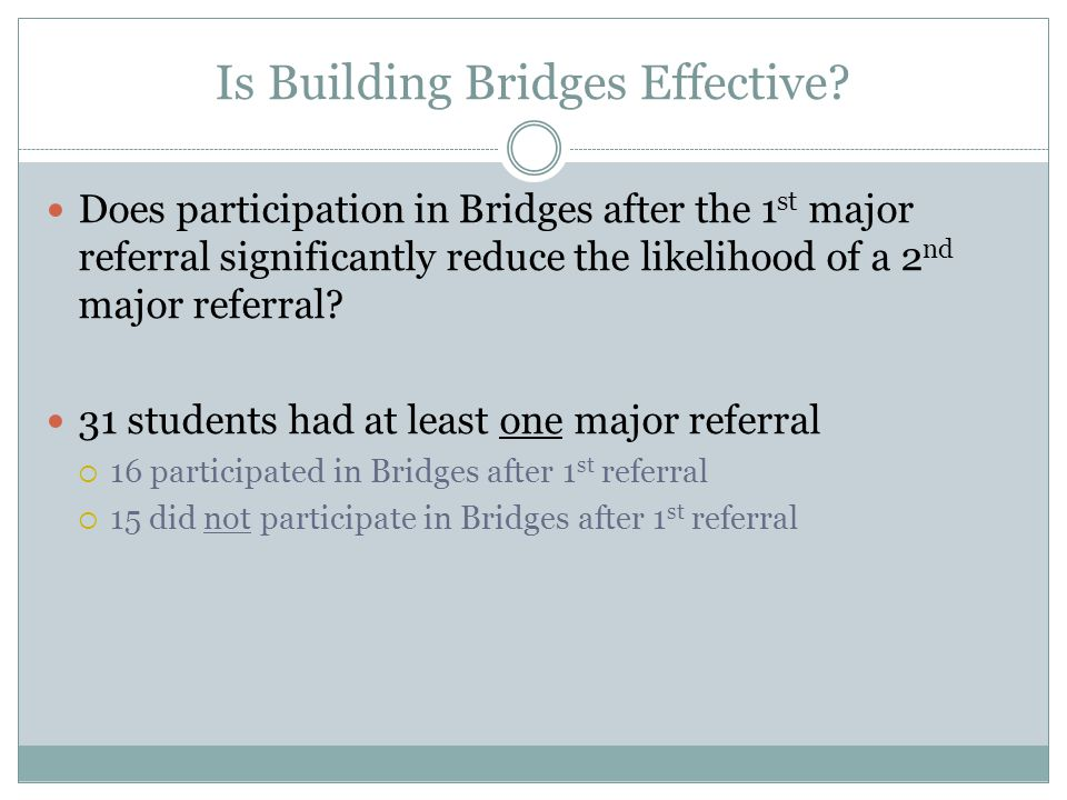 Is Building Bridges Effective? Does participation in Bridges after the 1 st major referral significantly reduce the likelihood of a 2 nd major referra
