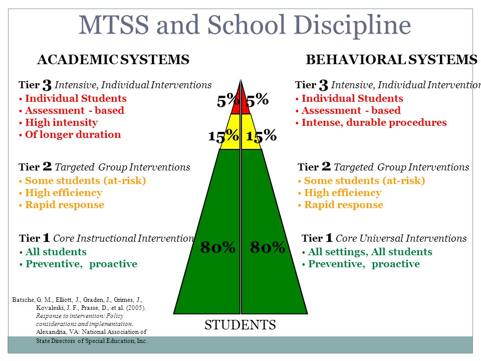 MTSS and School Discipline Tier 1 All students Universal Tier 2 Some Students Secondary Tier 3 Few Students Tertiary