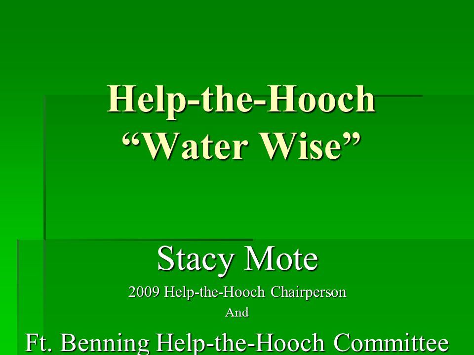 """Help-the-Hooch """"Water Wise"""" Stacy Mote 2009 Help-the-Hooch Chairperson And Ft. Benning Help-the-Hooch Committee"""