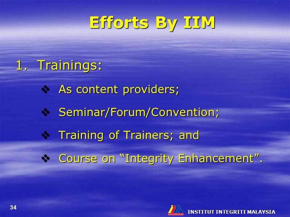 INSTITUT INTEGRITI MALAYSIA 34 Efforts By IIM 1.