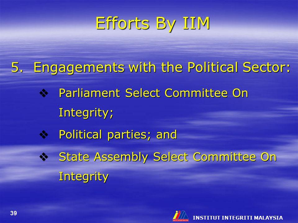 INSTITUT INTEGRITI MALAYSIA 39 Efforts By IIM 5.