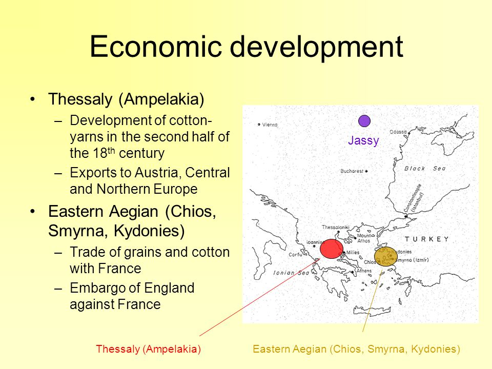 Economic development Thessaly (Ampelakia) –Development of cotton- yarns in the second half of the 18 th century –Exports to Austria, Central and Northern Europe Eastern Aegian (Chios, Smyrna, Kydonies) –Trade of grains and cotton with France –Embargo of England against France Jassy Thessaly (Ampelakia)Eastern Aegian (Chios, Smyrna, Kydonies)