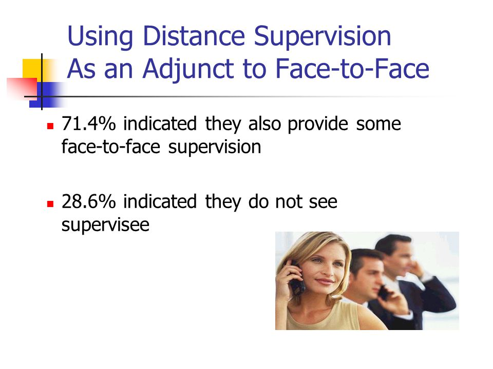 Using Distance Supervision As an Adjunct to Face-to-Face 71.4% indicated they also provide some face-to-face supervision 28.6% indicated they do not s