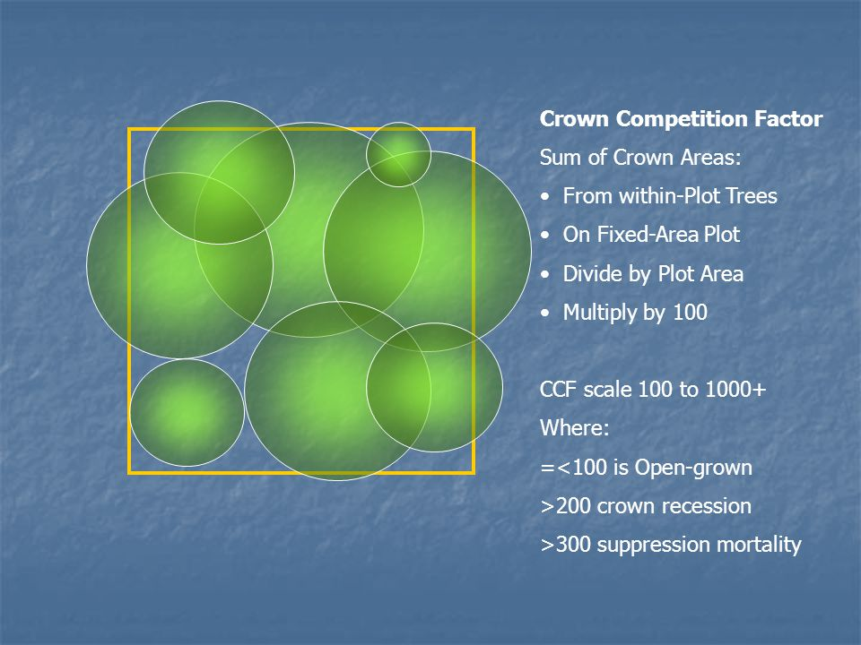 Crown Competition Factor Sum of Crown Areas: From within-Plot Trees On Fixed-Area Plot Divide by Plot Area Multiply by 100 CCF scale 100 to 1000+ Wher