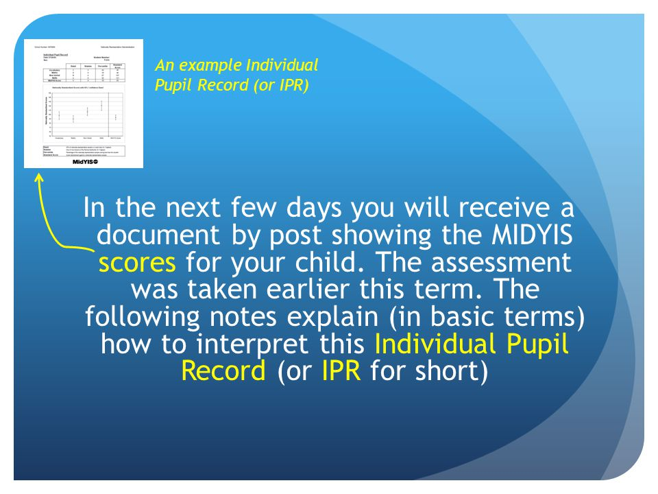 In the next few days you will receive a document by post showing the MIDYIS scores for your child. The assessment was taken earlier this term. The fol