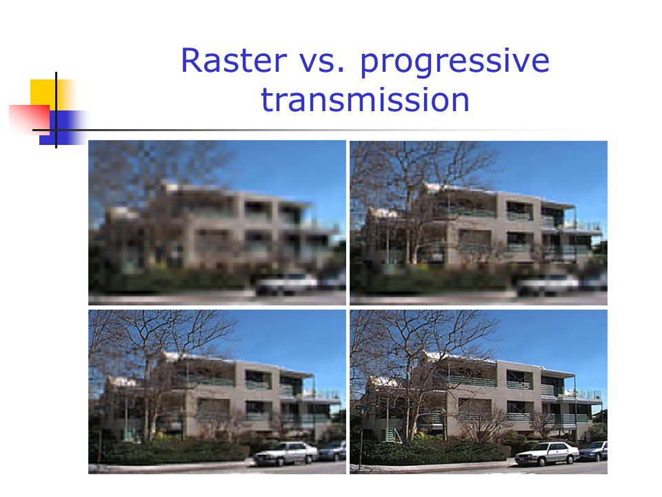 Raster vs. progressive transmission