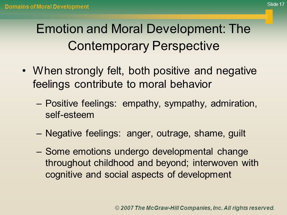 Slide 17 © 2007 The McGraw-Hill Companies, Inc. All rights reserved. Emotion and Moral Development: The Contemporary Perspective When strongly felt, b