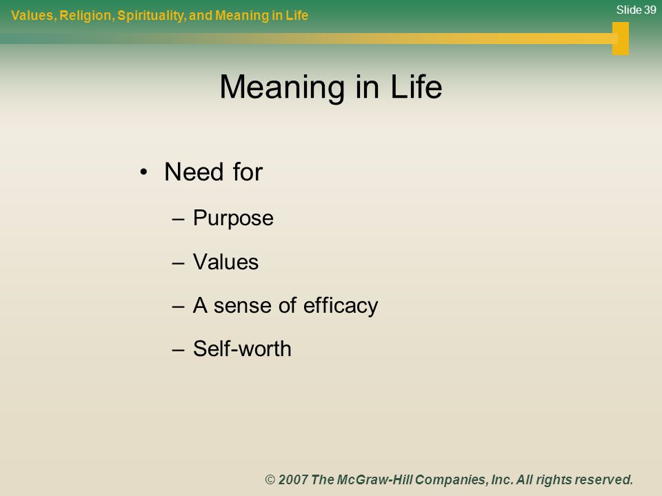 Slide 39 © 2007 The McGraw-Hill Companies, Inc. All rights reserved. Meaning in Life Need for –Purpose –Values –A sense of efficacy –Self-worth Values