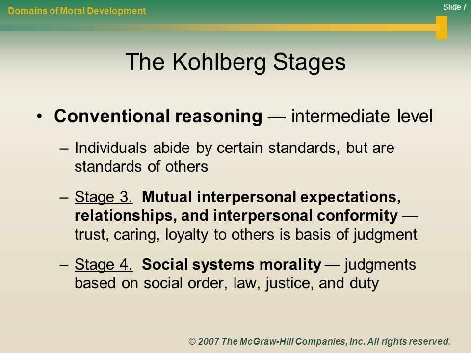 Slide 7 © 2007 The McGraw-Hill Companies, Inc. All rights reserved. The Kohlberg Stages Conventional reasoning — intermediate level –Individuals abide