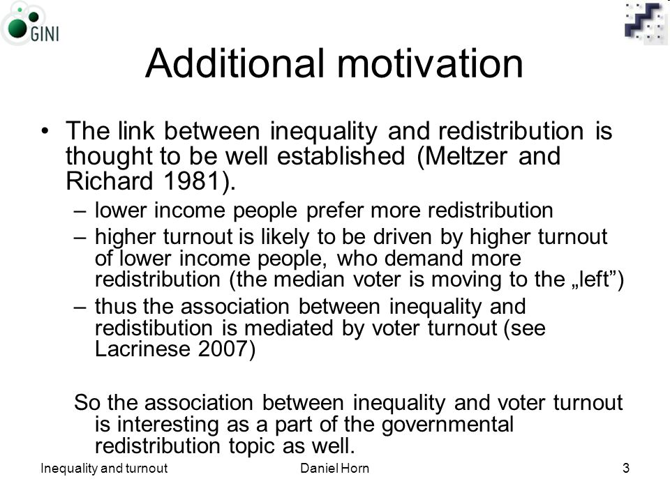 Inequality and turnoutDaniel Horn3 Additional motivation The link between inequality and redistribution is thought to be well established (Meltzer and Richard 1981).