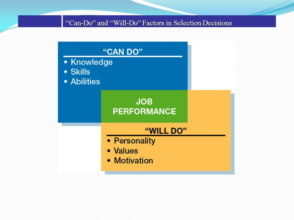"""Can-Do"" and ""Will-Do"" Factors in Selection Decisions"