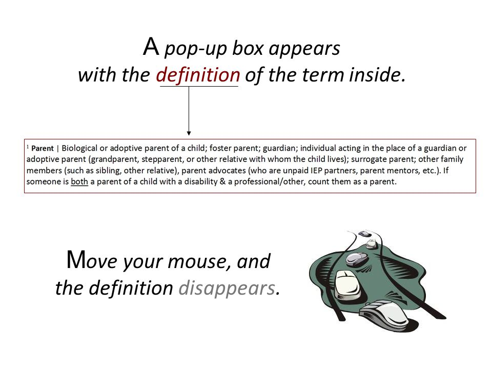 A pop-up box appears with the definition of the term inside.