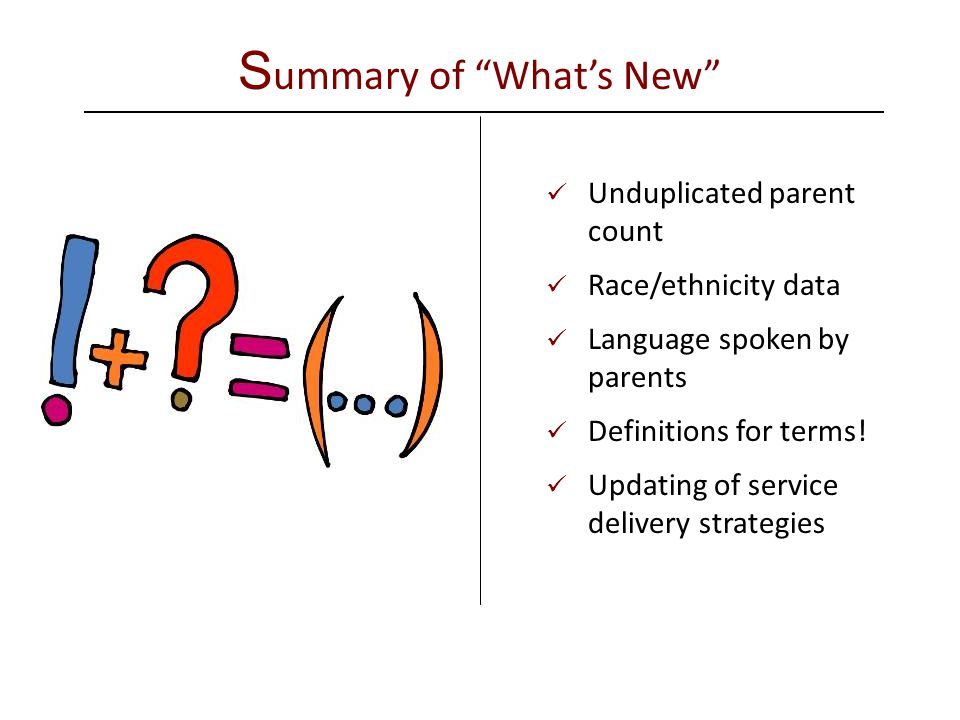 S ummary of What's New Unduplicated parent count Race/ethnicity data Language spoken by parents Definitions for terms.