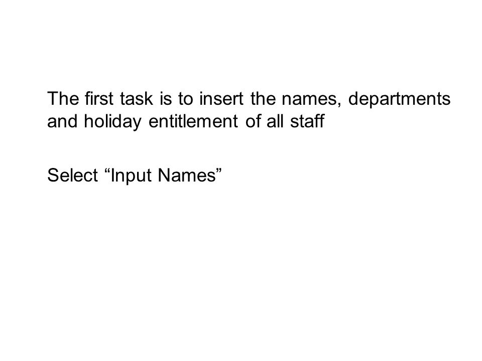 "The first task is to insert the names, departments and holiday entitlement of all staff Select ""Input Names"""