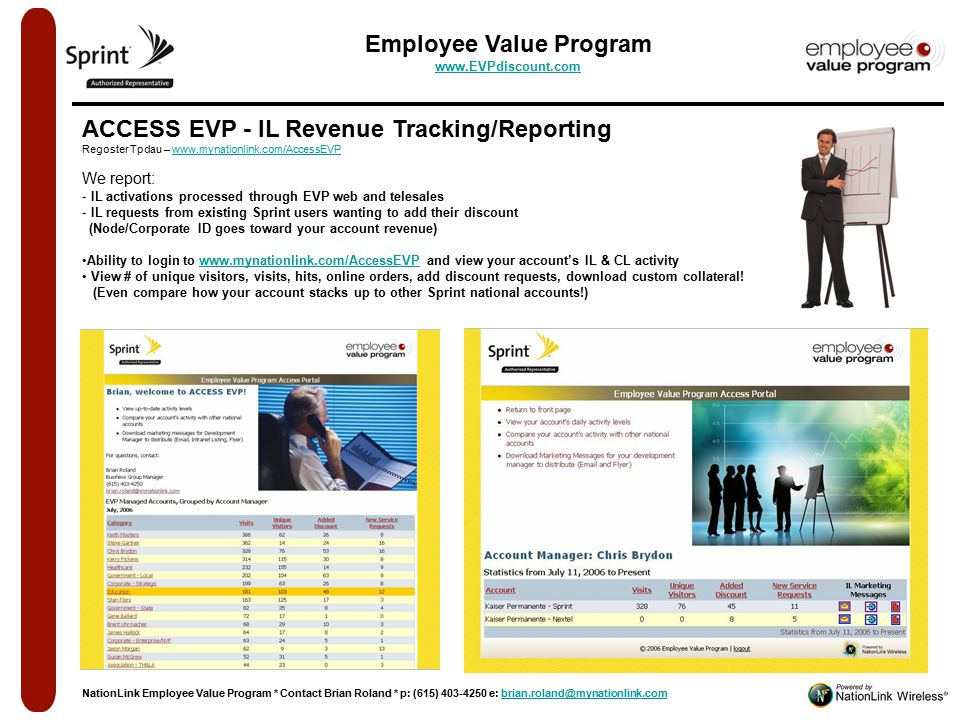 NationLink Quarterly EVP Revenue ReportNationLink Quarterly EVP Revenue Report ACCESS EVP - IL Revenue Tracking/Reporting Regoster Tpdau – www.mynationlink.com/AccessEVPwww.mynationlink.com/AccessEVP We report: - IL activations processed through EVP web and telesales - IL requests from existing Sprint users wanting to add their discount (Node/Corporate ID goes toward your account revenue) Ability to login to www.mynationlink.com/AccessEVP and view your account's IL & CL activitywww.mynationlink.com/AccessEVP View # of unique visitors, visits, hits, online orders, add discount requests, download custom collateral.