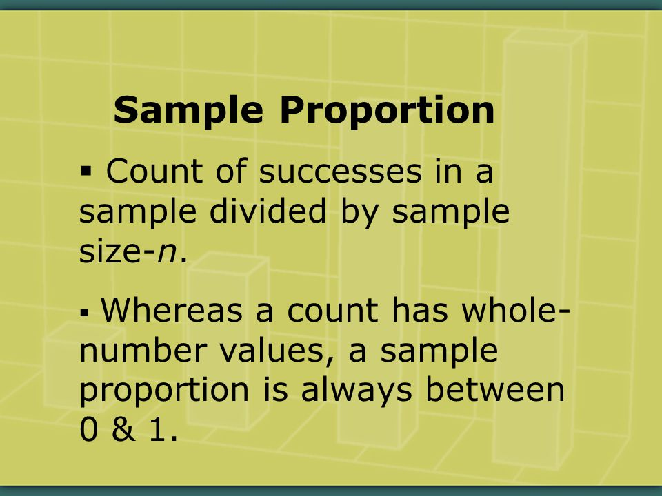 Sample Proportion  Count of successes in a sample divided by sample size-n.