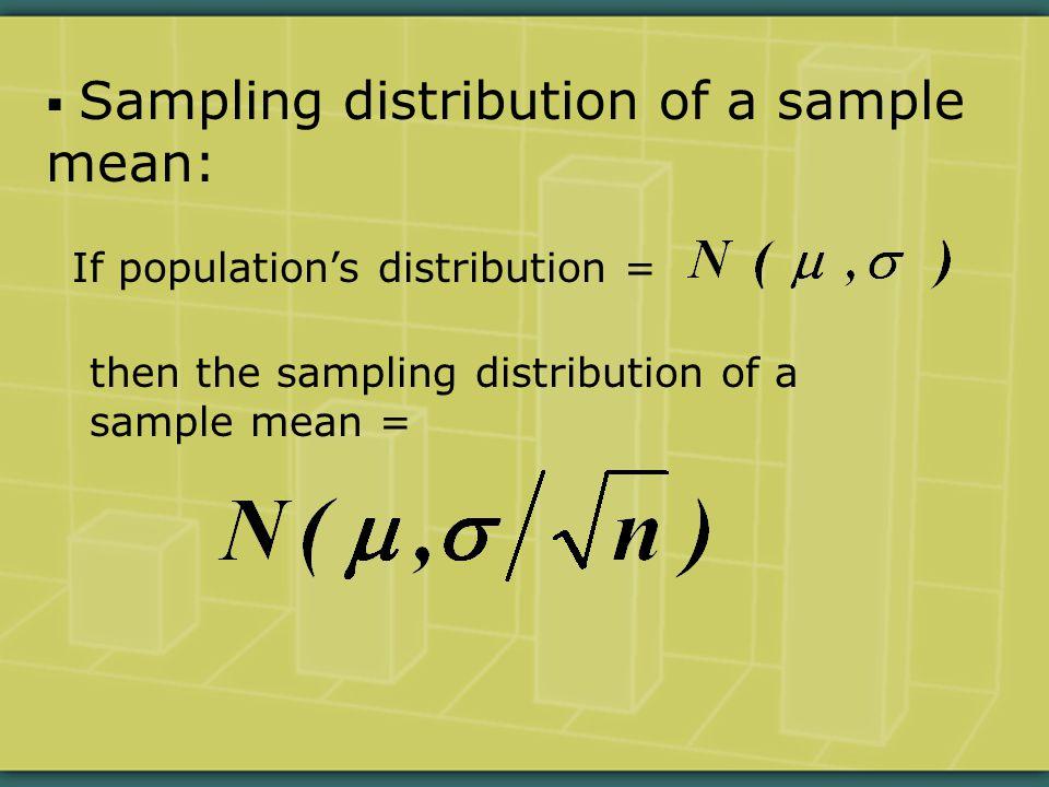  Sampling distribution of a sample mean: If population's distribution = then the sampling distribution of a sample mean =