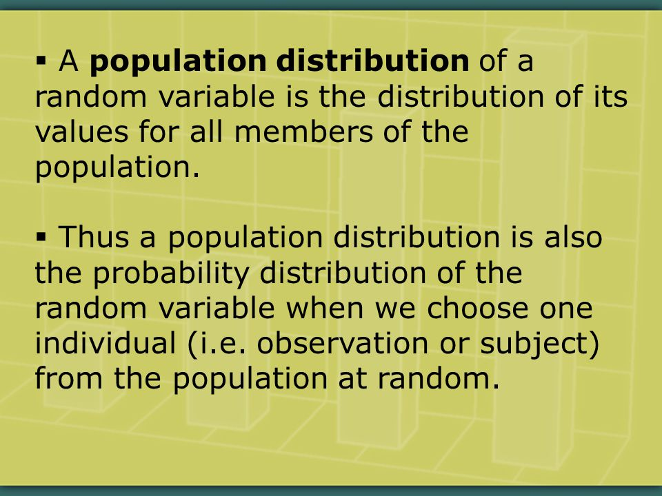  A population distribution of a random variable is the distribution of its values for all members of the population.