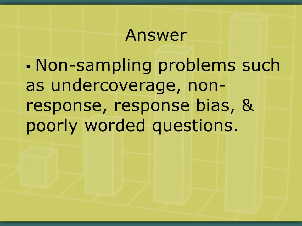 Answer  Non-sampling problems such as undercoverage, non- response, response bias, & poorly worded questions.