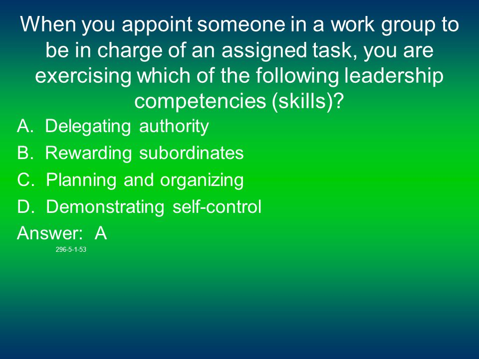 When you appoint someone in a work group to be in charge of an assigned task, you are exercising which of the following leadership competencies (skills).
