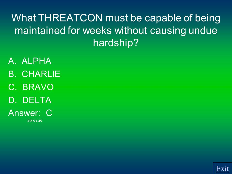 What THREATCON must be capable of being maintained for weeks without causing undue hardship.