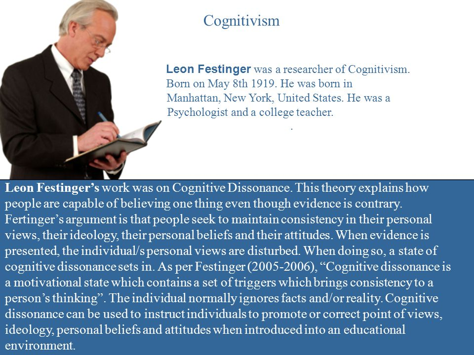 Cognitivism Leon Festinger was a researcher of Cognitivism. Born on May 8th 1919. He was born in Manhattan, New York, United States. He was a Psycholo