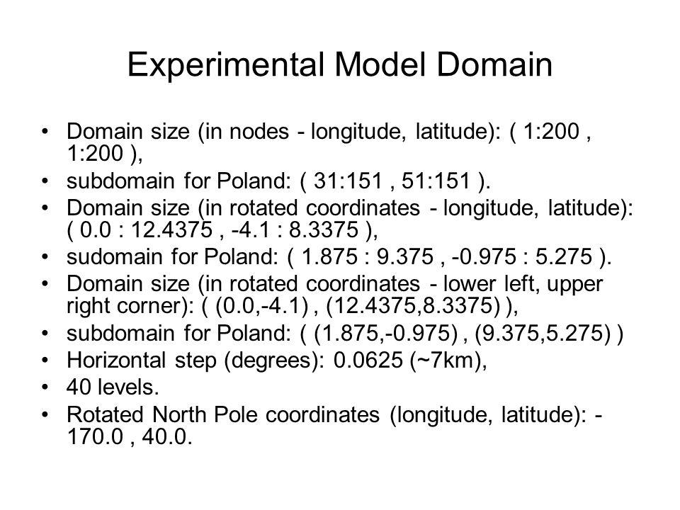 Experimental Model Domain Domain size (in nodes - longitude, latitude): ( 1:200, 1:200 ), subdomain for Poland: ( 31:151, 51:151 ).
