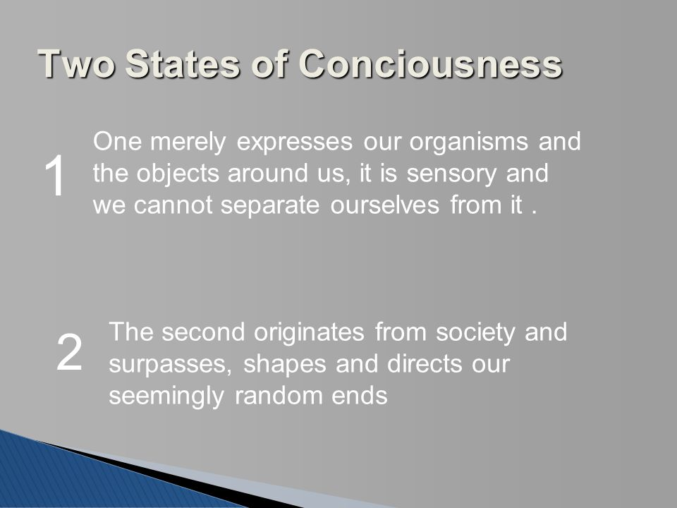Two States of Conciousness 1 One merely expresses our organisms and the objects around us, it is sensory and we cannot separate ourselves from it. 2 T