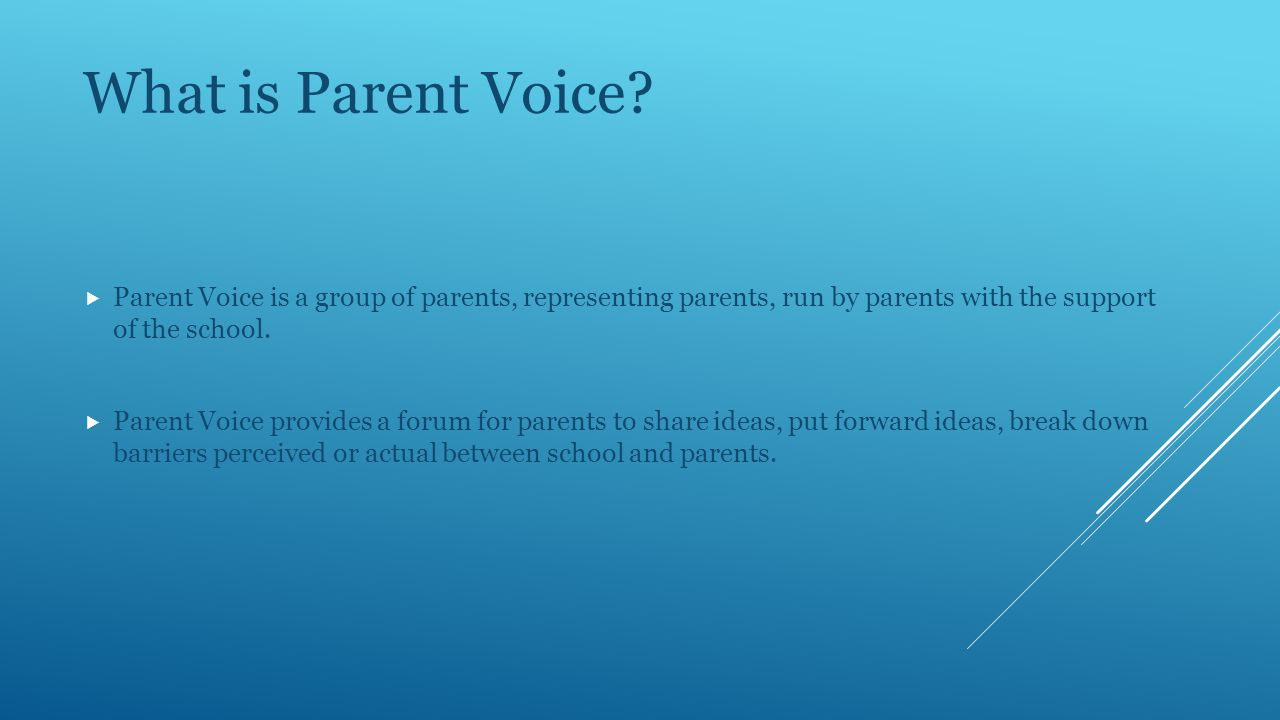 The limitations of Parent Voice:  Parent Voice is not a channel for individual complaints and issues.