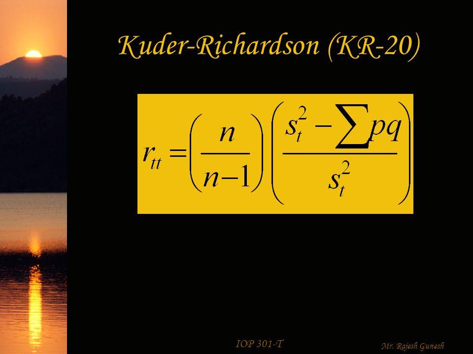 IOP 301-T Mr. Rajesh Gunesh Cronbach's alpha (α) (Coefficient alpha)