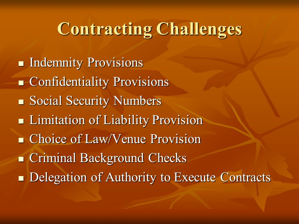 Contracting Challenges Indemnity Provisions Indemnity Provisions Confidentiality Provisions Confidentiality Provisions Social Security Numbers Social