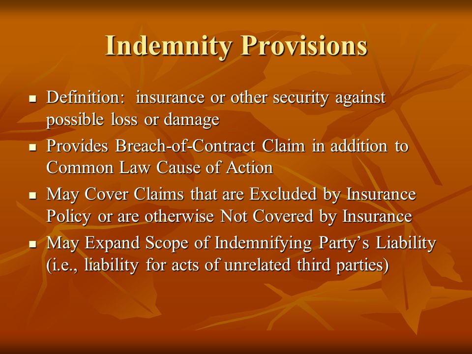 Indemnity Provisions Definition: insurance or other security against possible loss or damage Definition: insurance or other security against possible
