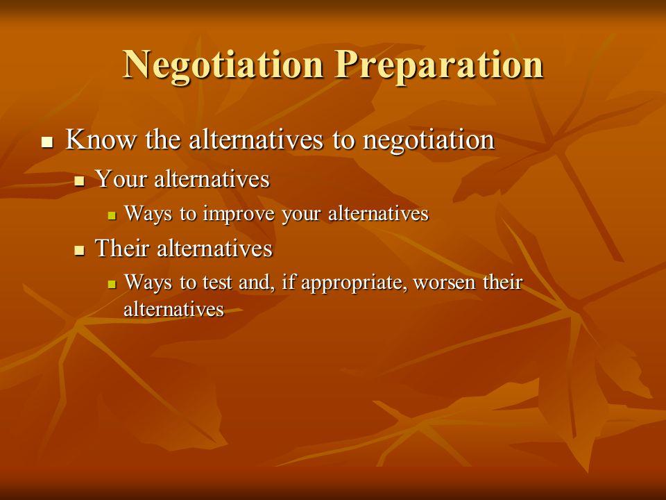 Negotiation Preparation Know the alternatives to negotiation Know the alternatives to negotiation Your alternatives Your alternatives Ways to improve