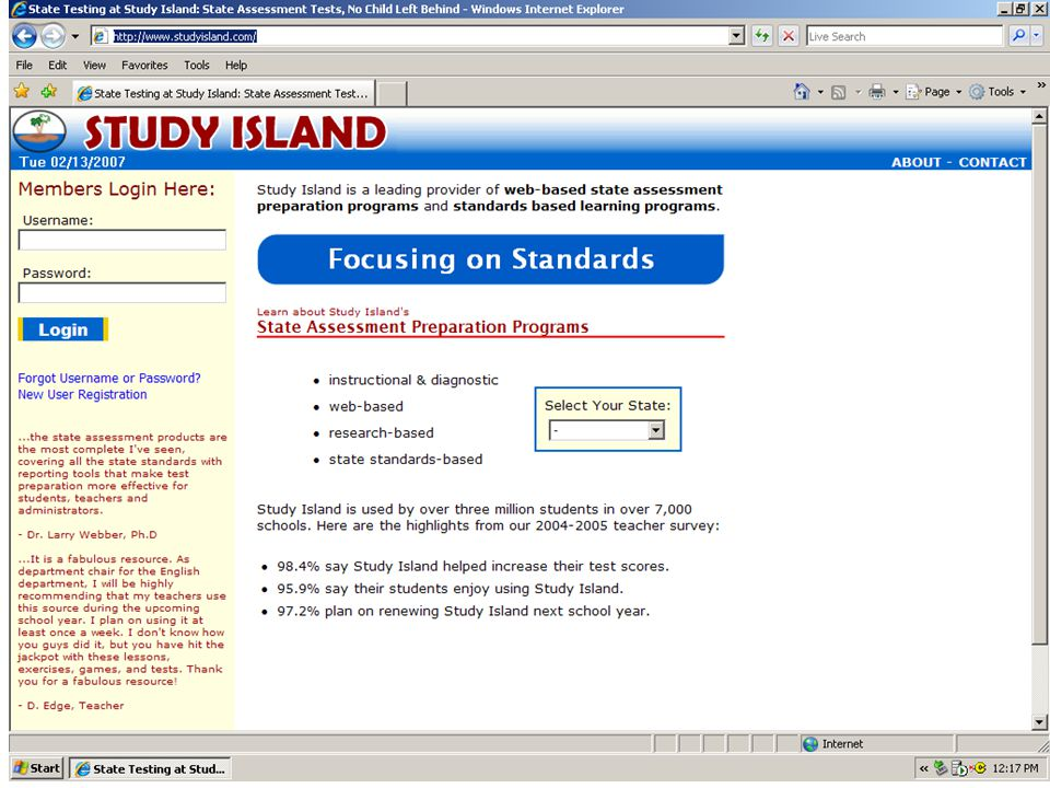 After choosing a grade level, you see this screen – your main menu page.