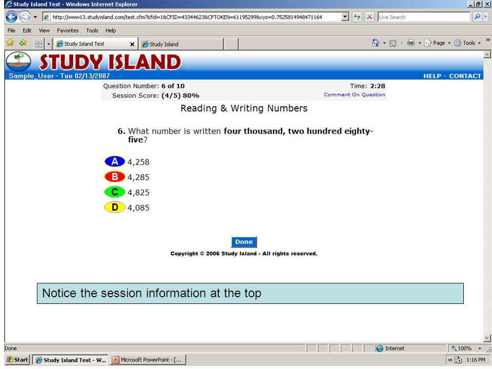 Notice the session information at the top