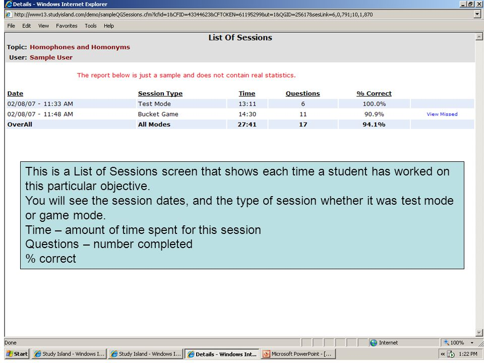This is a List of Sessions screen that shows each time a student has worked on this particular objective. You will see the session dates, and the type