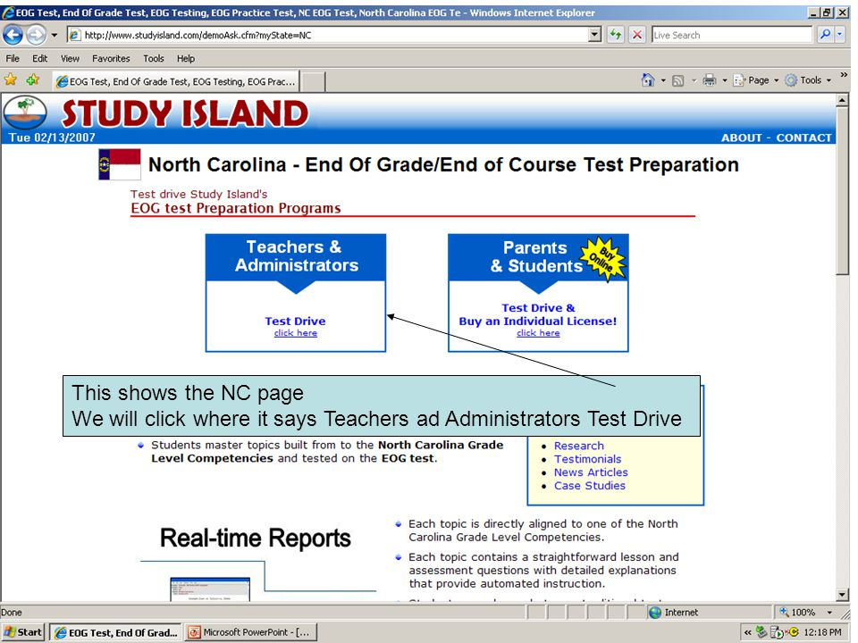 This shows the NC page We will click where it says Teachers ad Administrators Test Drive
