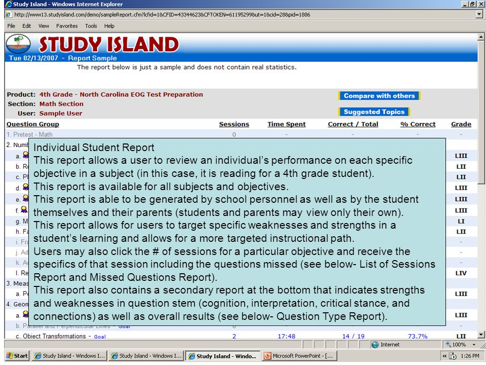 Individual Student Report This report allows a user to review an individual's performance on each specific objective in a subject (in this case, it is