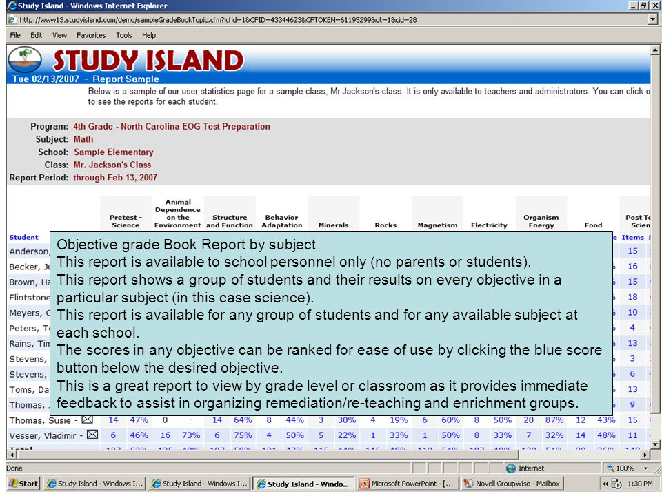 Objective grade Book Report by subject This report is available to school personnel only (no parents or students). This report shows a group of studen