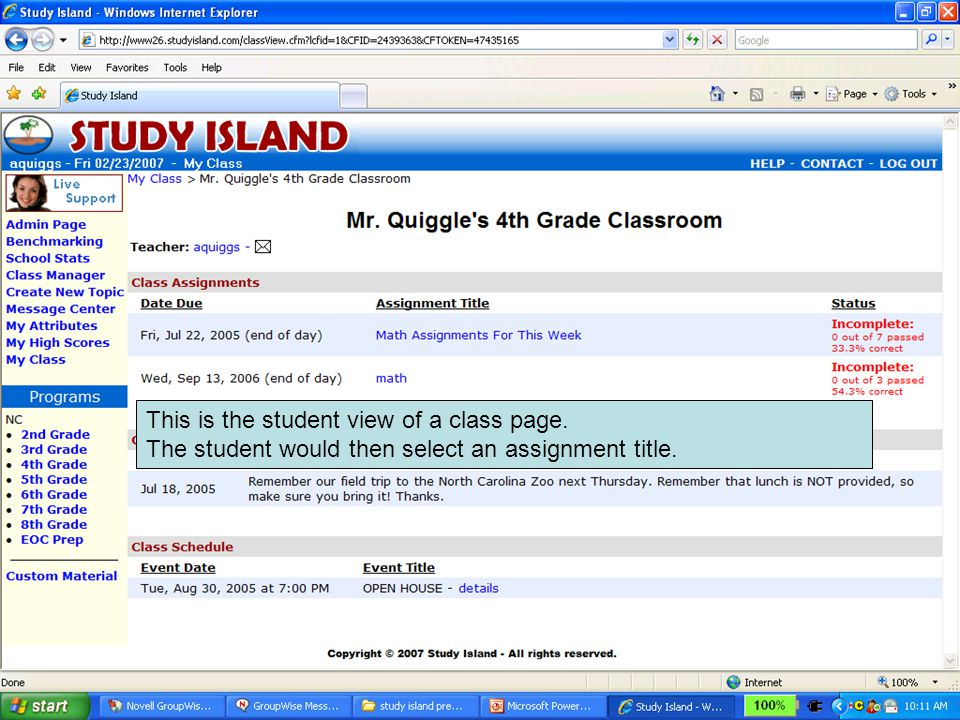 This is the student view of a class page. The student would then select an assignment title.