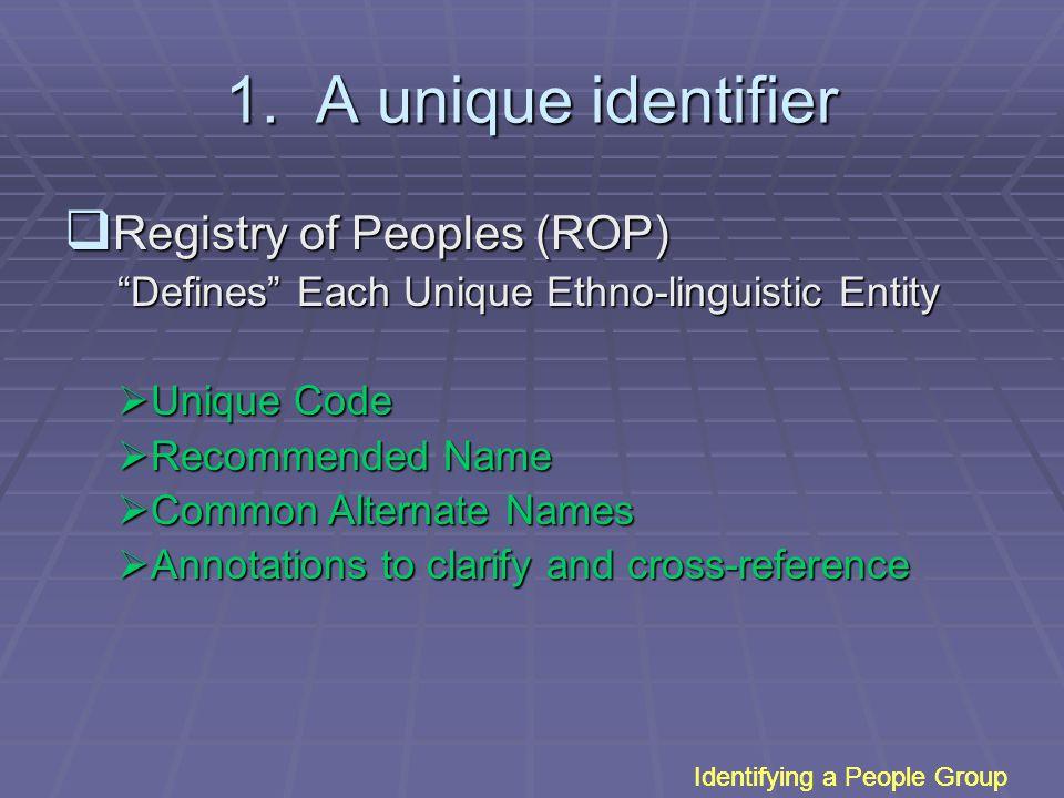 "1. A unique identifier  Registry of Peoples (ROP) ""Defines"" Each Unique Ethno-linguistic Entity  Unique Code  Recommended Name  Common Alternate N"