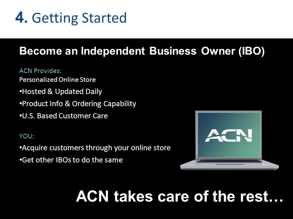 4. Getting Started Become an Independent Business Owner (IBO) ACN Provides: Personalized Online Store Hosted & Updated Daily Product Info & Ordering C