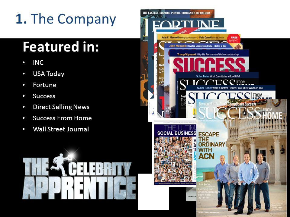 Featured in: INC USA Today Fortune Success Direct Selling News Success From Home Wall Street Journal 1. The Company