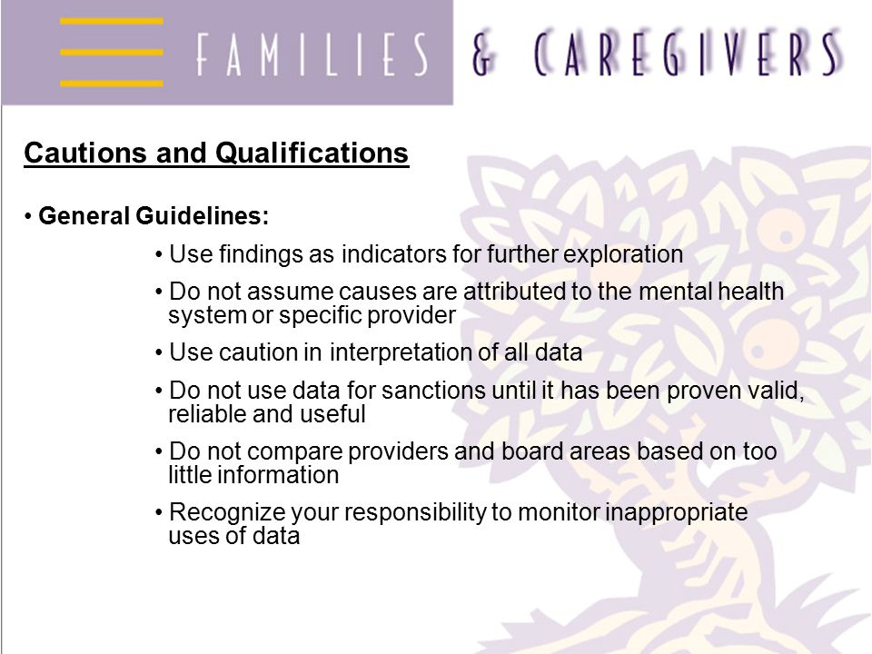 Cautions and Qualifications General Guidelines: Use findings as indicators for further exploration Do not assume causes are attributed to the mental health system or specific provider Use caution in interpretation of all data Do not use data for sanctions until it has been proven valid, reliable and useful Do not compare providers and board areas based on too little information Recognize your responsibility to monitor inappropriate uses of data
