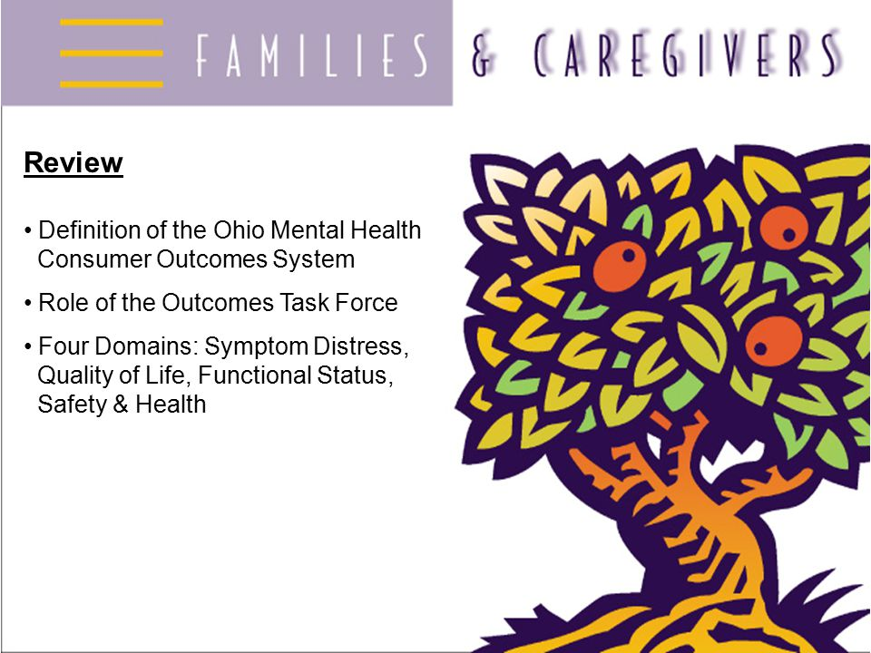 Review Definition of the Ohio Mental Health Consumer Outcomes System Role of the Outcomes Task Force Four Domains: Symptom Distress, Quality of Life,